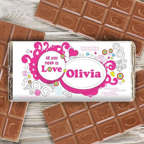 Personalised Groovy Doodle Love Chocolate Bar